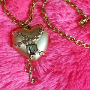 CHAINED HEART with Dangle KEY necklace